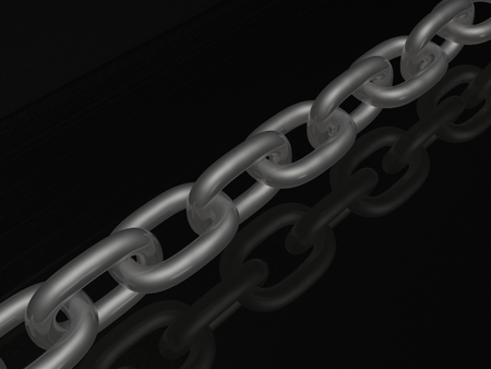 Grey chain on black background, 3D illustration.