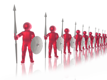 Red soldiers on white reflective background, 3D illustration. Stock Photo