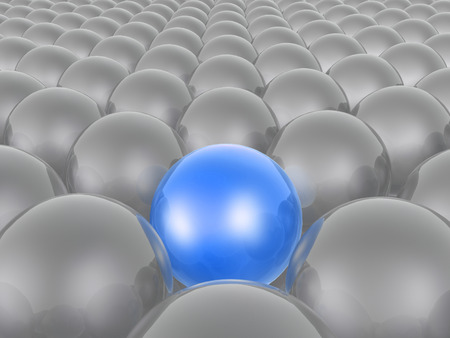 Blue and grey spheres as abstract background, 3D illustration. Stock Photo