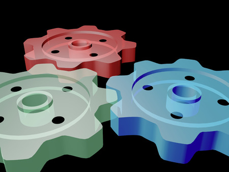 Three close-up gears on the black background, 3D illustration.
