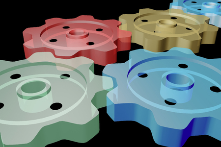 Set of close-up gears on the black background, 3D illustration. Reklamní fotografie