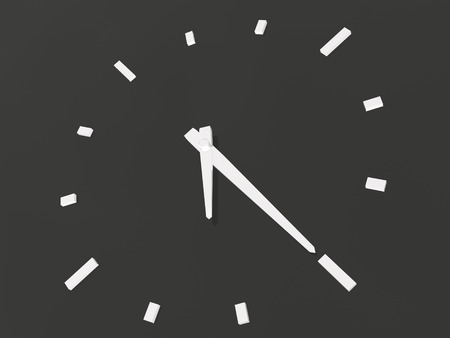 Black and white clock as abstract background, 3D illustration.