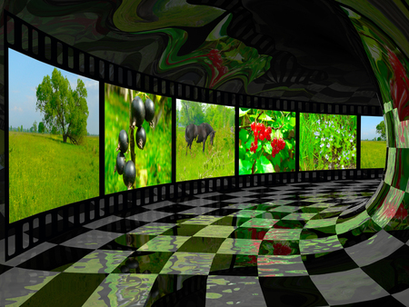 Nature shots in the reflective tunnel, 3D illustration.