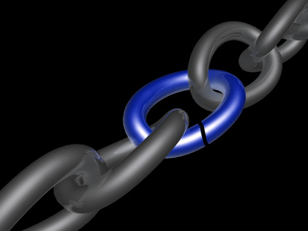 Grey chain with blue link, black background, 3D illustration.