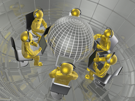Globe and yellow mans - abstract computer background, 3D illustration. Banco de Imagens