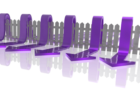 Violet arrows and fence on white reflective background, 3D illustration. Stock Photo