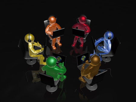 Color mans with laptops on the black background, 3D illustration. Imagens