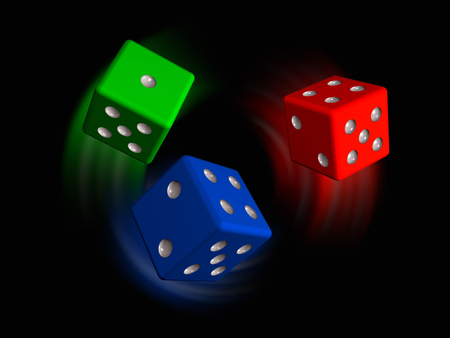 Red, green and blue dies on black background, 3D illustration.