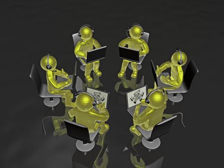 Yellow mans with laptops - abstract computer background, 3D illustration. Banco de Imagens