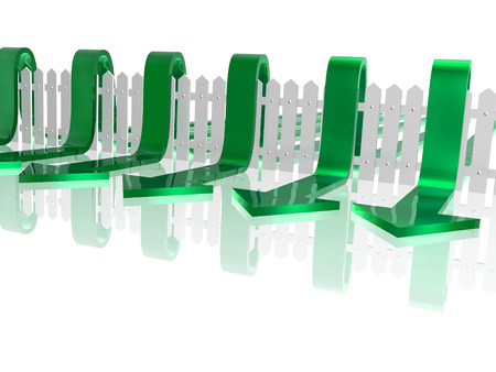 Green arrows and fence on white reflective background, 3D illustration. Stock Photo