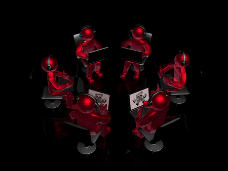 Mans with laptops and headphones, 3D illustration. Archivio Fotografico