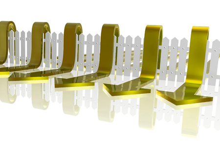 Yellow arrows and fence on white reflective background, 3D illustration. Stock Photo