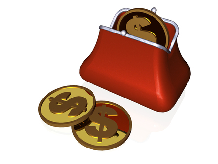 Purse and coin on white background, 3D illustration.