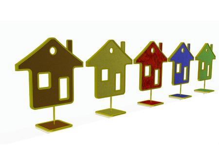 Color homes on white reflection background, 3D illustration. Reklamní fotografie - 122120891