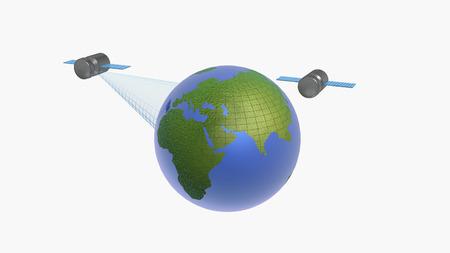 Globe and satellites on white background, 3D illustration.