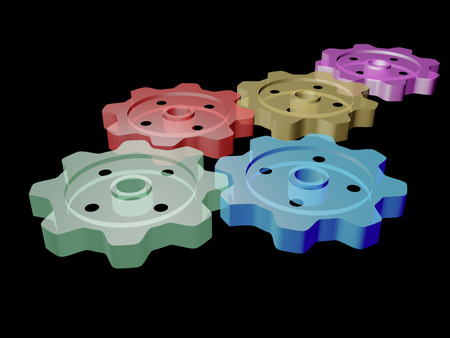 Color gears on the black background, 3D illustration.