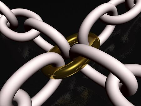 Grey chain with gold link, black background, 3D illustration.