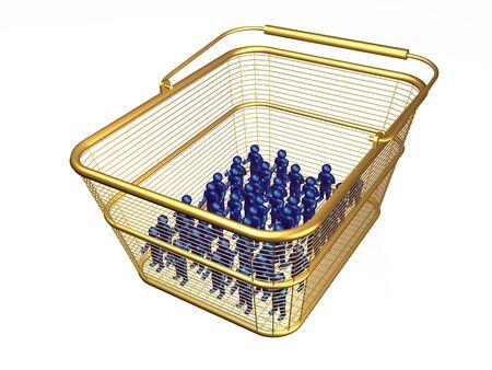 Shop basket with mans on white background, 3D illustration.