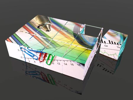 Cubes with pictures on the black background, 3D illustration. Stock fotó