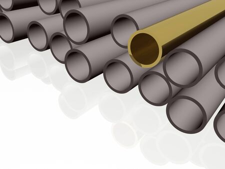 Gold and grey pipes as abstract background, 3D illustration. 스톡 콘텐츠