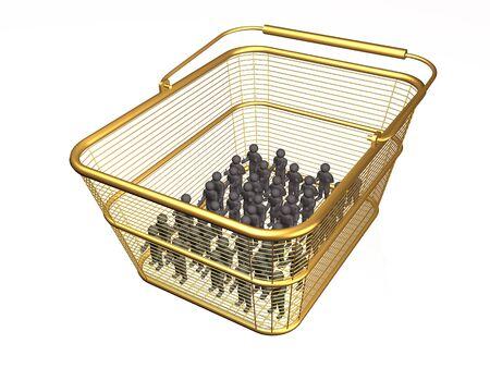 Shop basket with mans on white background, 3D illustration. Stock fotó - 129033625