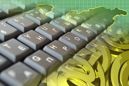 Abstract computer background with keyboard, mail signs and map. Stockfoto