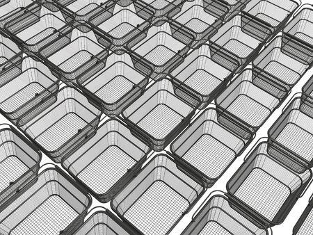 Shop baskets on white background, 3D illustration. Stock fotó