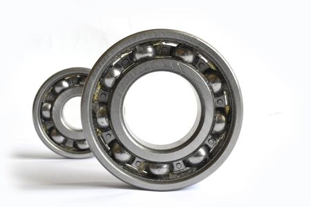 Two close-up bearings on the white background. Фото со стока
