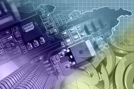 Abstract computer background with buildings, electronic device and map. Фото со стока