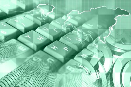 Abstract computer background with keyboard, mail signs and map. Фото со стока