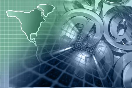 Abstract computer background with mail signs and map.