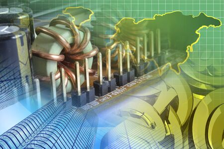 Abstract computer background with electronic device, buildings and map.