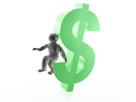 Man on dollar sign, white background, 3D illustration.