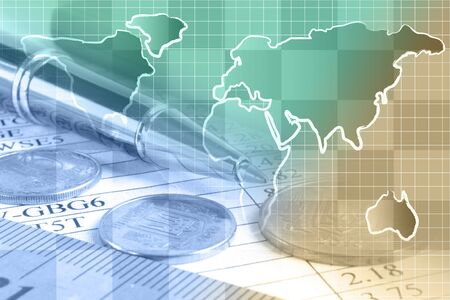 Business collage with map, table and coins. Stockfoto