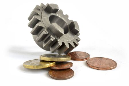 Business background with coins and gear on the white.