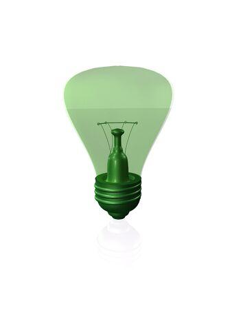 Green lamp on the white background, 3D illustration. Stock fotó - 131318487