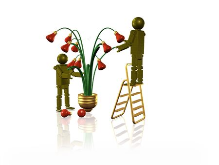 Electrical lamps at the trees and robots, white background, 3D illustration.