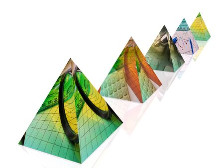 Business pyramides on white reflection background, 3D illustration.