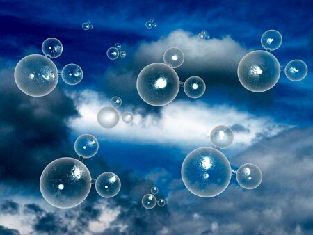 Allegory about water molecules, 3D illustration.