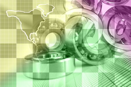 Abstract computer background with bearings, buildings and map.