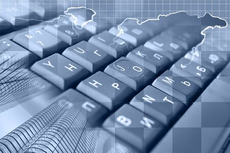 Abstract computer background with keyboard, buildings and map.
