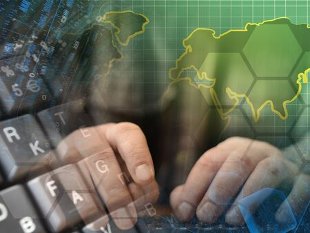 Abstract computer background with keyboard, hands and map. 版權商用圖片