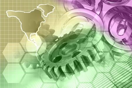Abstract computer background with gears and map. 版權商用圖片