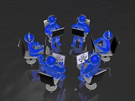 Globe and blue mans on the black background, 3D illustration. Banco de Imagens