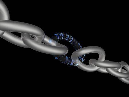 Chain with digital central link, black background, 3D illustration.
