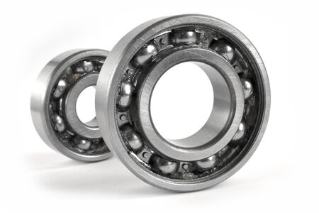 Two close-up bearings on the white background. Standard-Bild