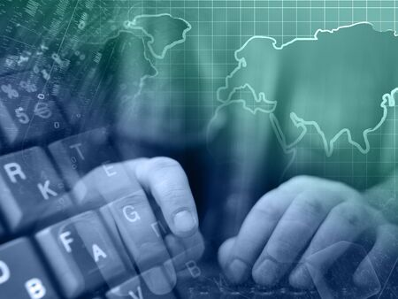 Abstract computer background with keyboard, hands and map. Standard-Bild