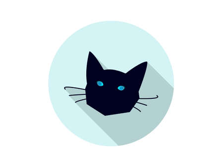 alone in the dark: Black cat head icon with blue eyes