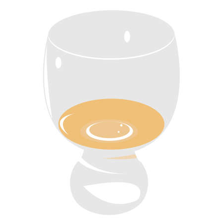 Glass of white wine flat Illustration