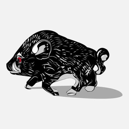 tusks: Wild black boar Illustration
